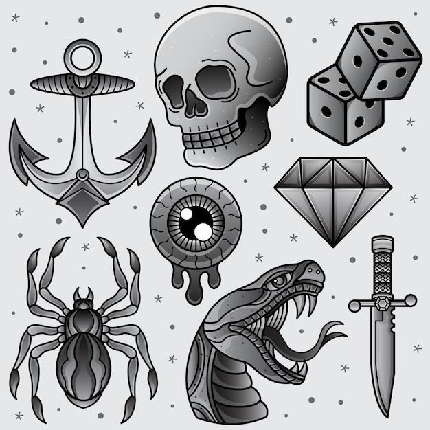 Set black and white flash tattoo Premium Vector