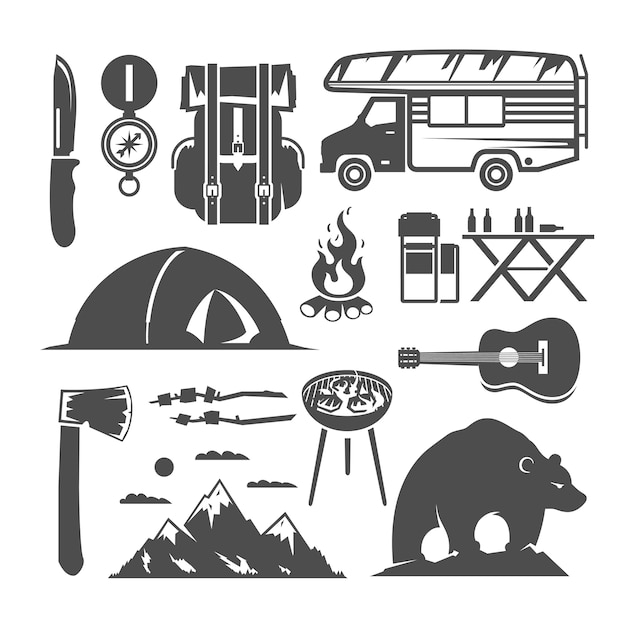Set of black and white icons on the theme of camping Premium Vector