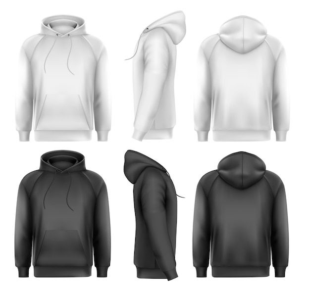 Set of black and white male hoodies Premium Vector
