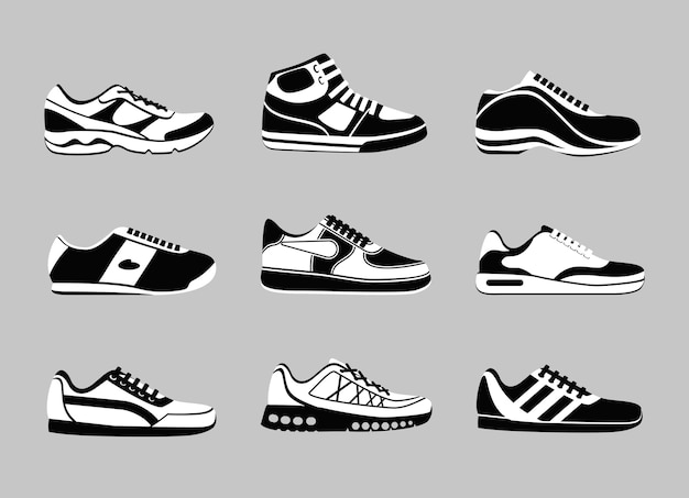 Set of black and white sneakers Free Vector