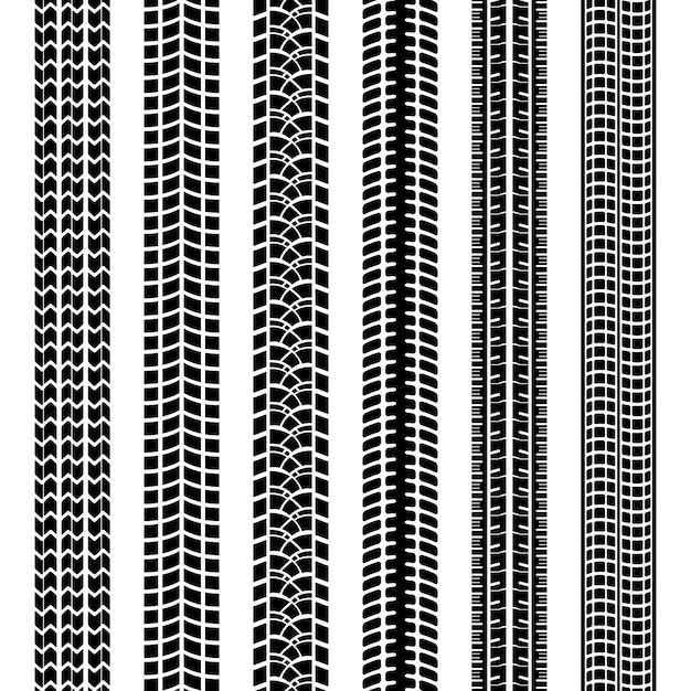 Set of black and white tire tracks or prints left in dirt  mud or snow by the treads on the tyres of vehicle or machine  straight seamless vector patterns Free Vector