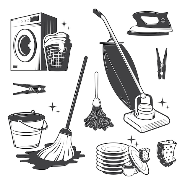 Set of black and white vintage cleaning tools. Free Vector