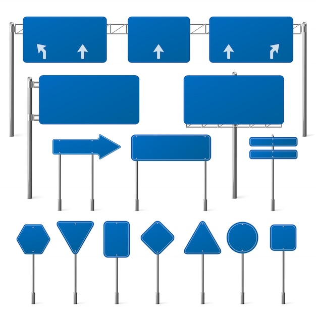 Set of blank blue road signs Free Vector