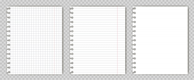 Set of blank  copy book sheets with torn edges. Premium Vector