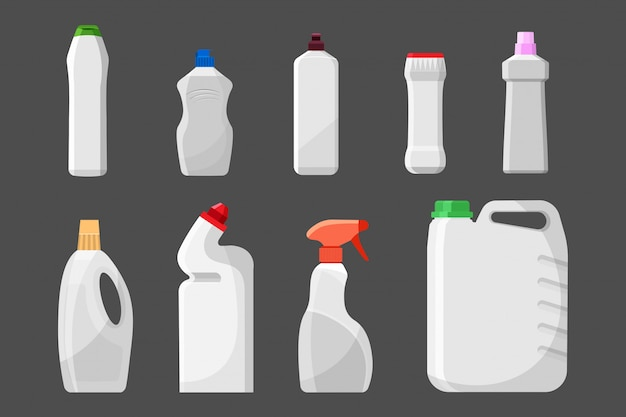 Set of blank detergent bottles or containers, cleaning supplies, washing powder. Premium Vector