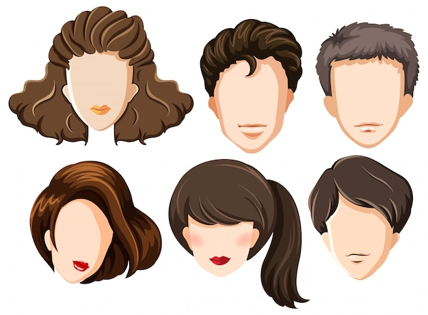 Set of blank heads Free Vector