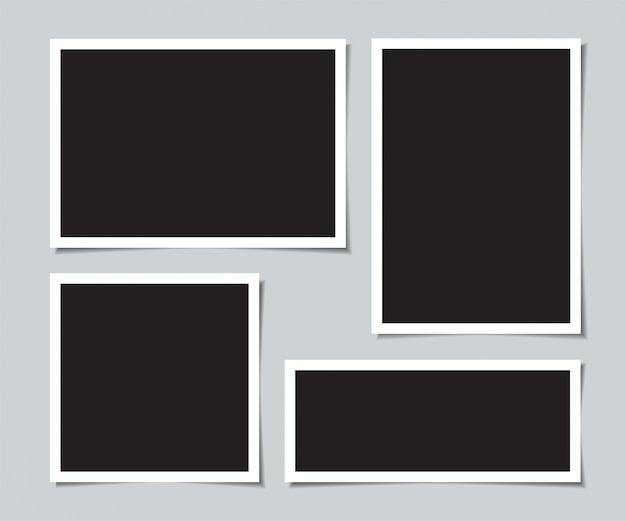 Set of blank photos for collage. Premium Vector