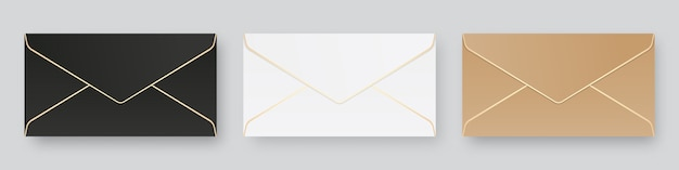 Set of blank realistic envelopes mockup. isolated. template design. realistic illustration. Premium Vector