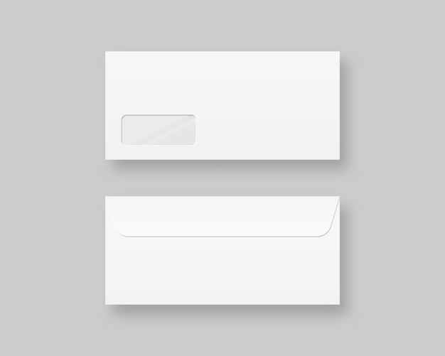 Set of blank realistic envelopes template. blank realistic closed envelope front and back view . realistic  illustration. Premium Vector