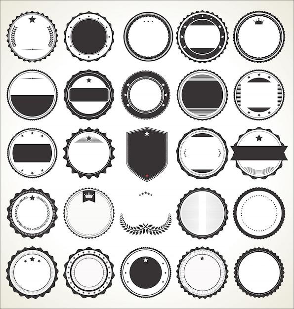 Set of blank retro vintage badges Premium Vector