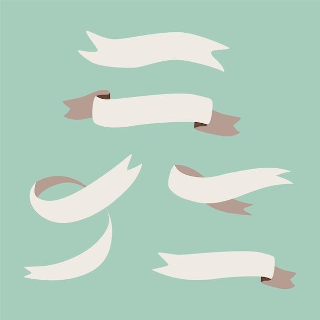 Set of blank ribbons vector Free Vector