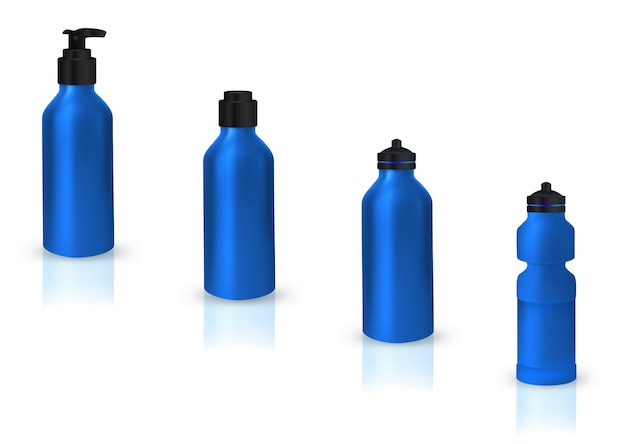 Set of blank sport cans for water Premium Vector