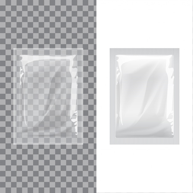 Set of blank template packaging foil wet wipes pouch medicine. realistic food packing coffee, salt, sugar, pepper, spices, sweets Premium Vector