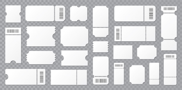 Set blank ticket template. concert ticket, lottery coupons.  coupon   . Premium Vector