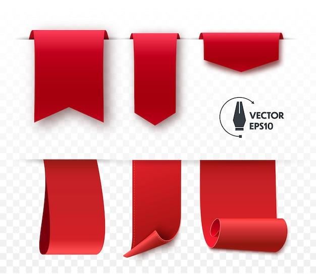 Set of blank vector corner ribbons. Premium Vector