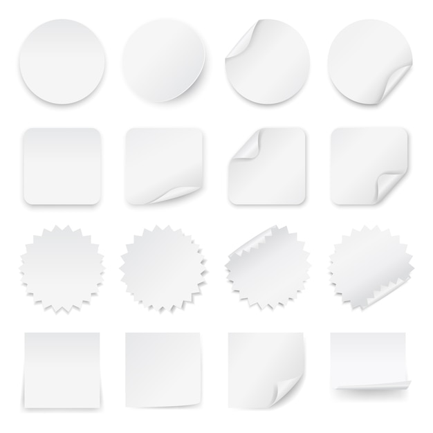 Set of blank white labels with rounded corners in different shapes. Premium Vector