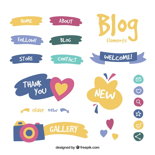 Set of blog items Free Vector