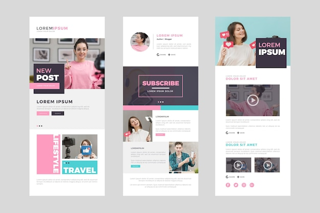 Set of blogger email template with photos Free Vector
