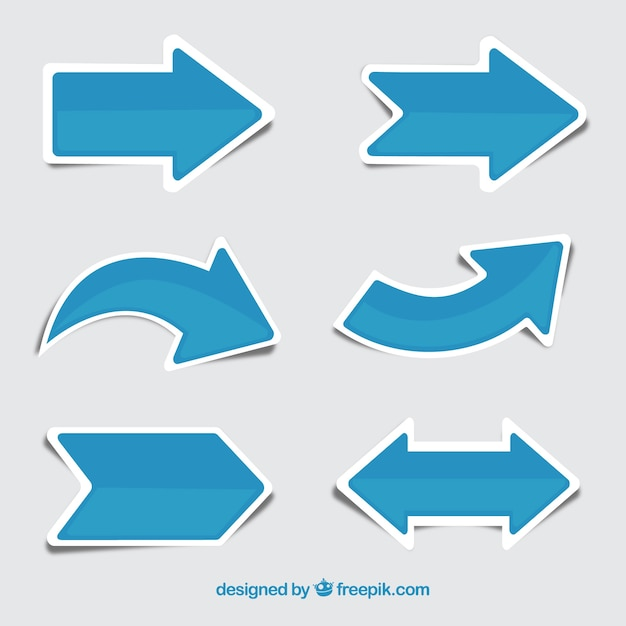 Set of blue arrow stickers Free Vector