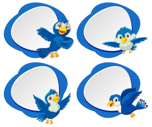 A set of blue bird banner Premium Vector