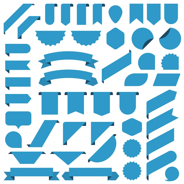 Set of blue blank banners ribbon. Premium Vector