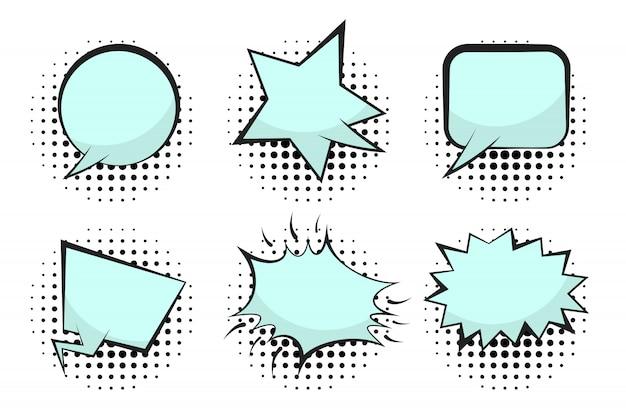 Set of blue empty retro comic speech bubbles Premium Vector