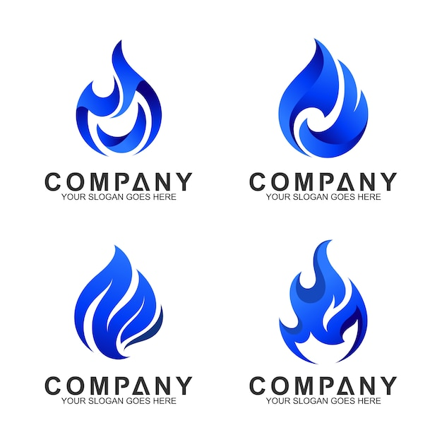 Set of blue fire logo template Premium Vector