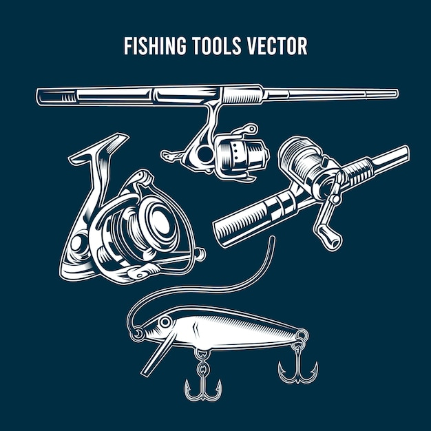 Set of blue fishing tools Premium Vector