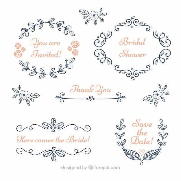 Set of blue floral wedding frames Free Vector