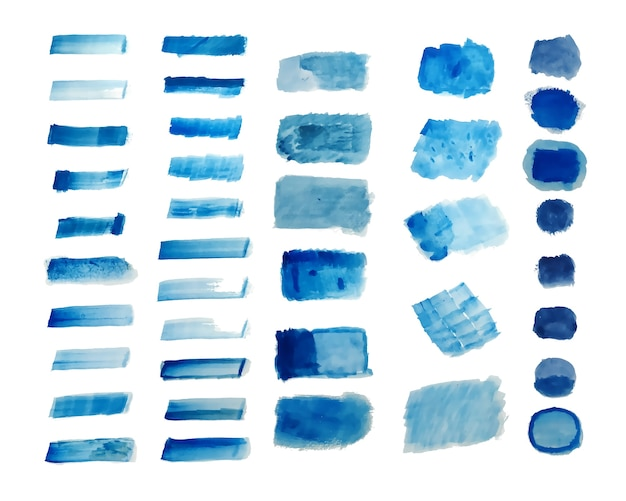 Set of blue hand painted watercolor textures background Free Vector