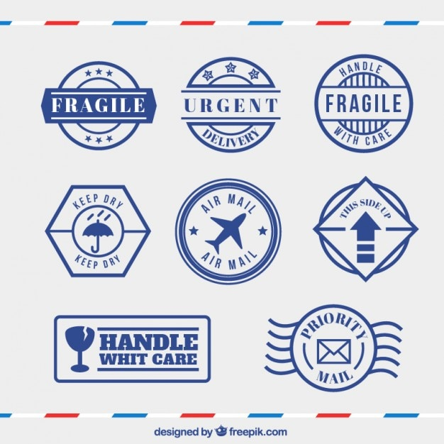 Set of blue precaution stamps in vintage style Free Vector