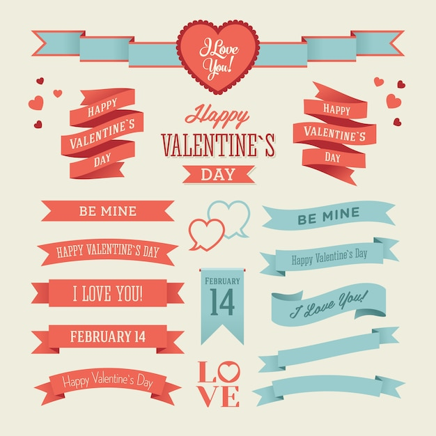 The set of blue and red valentines day ribbons Premium Vector