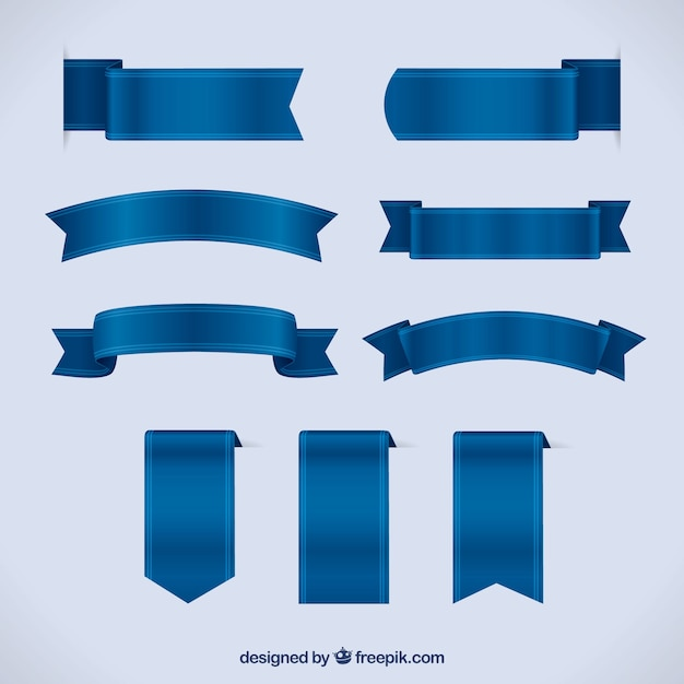 Set of blue ribbons in realistic style Free Vector