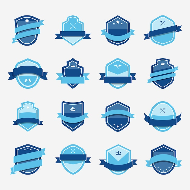 Set of blue shield icon embellished with banner vectors Free Vector