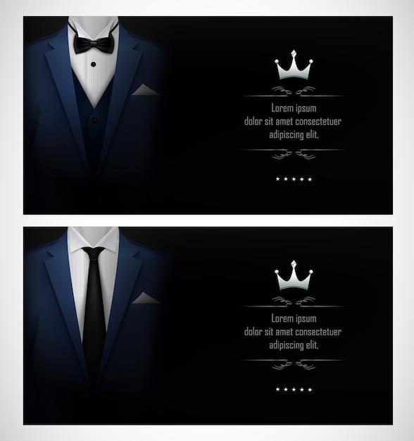 Set of blue tuxedo business card templates Premium Vector