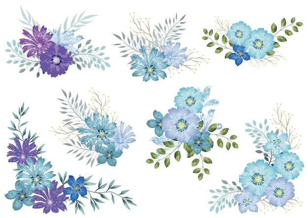 Set di elementi floreali acquerello blu isolato su un bianco Vettore gratuito