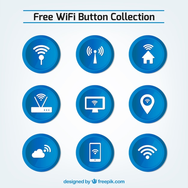 Set of blue wifi buttons Free Vector