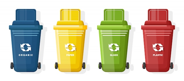 Set of blue, yellow, green and red trash can with lid and ecology sign Free Vector