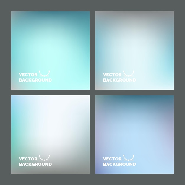 セットする。ぼやけた背景。デザイン、ウェブサイト、インフォグラフィックポスター、カード広告のための色とりどりのぼやけた背景 Premiumベクター