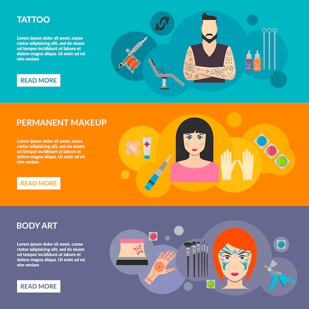 Set of body art tattoo makeup with description Free Vector