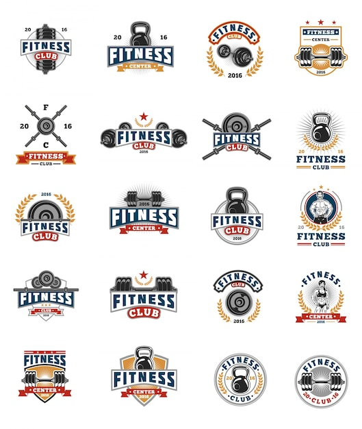Set bodybuilding badges, stickers isolated on white. Free Vector