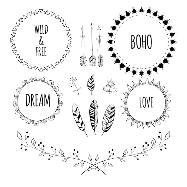 Set of boho style frames and hand drawn element Premium Vector
