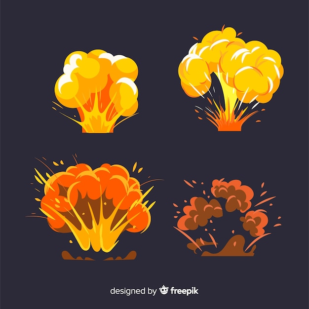 Set of bomb explosion effects Free Vector