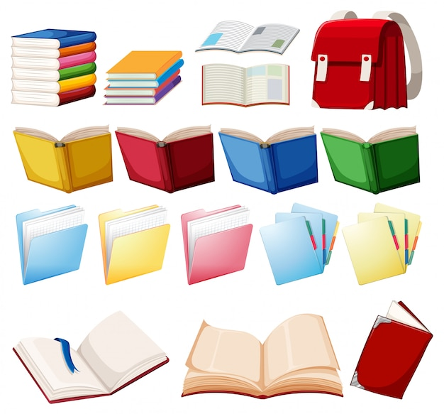 Set of book object Free Vector