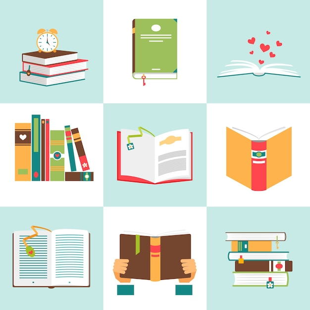 Set of books in flat design. literature and library, education and science, knowledge and study Free Vector