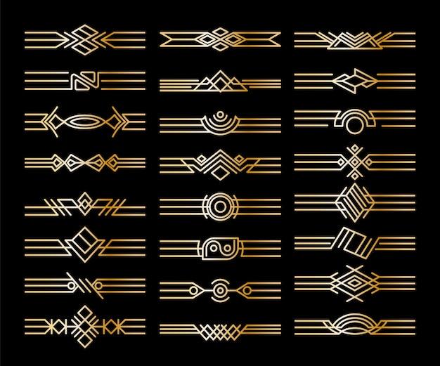 Set of borders dividers. decorative golden vignettes. calligraphic design elements and page decoration Premium Vector