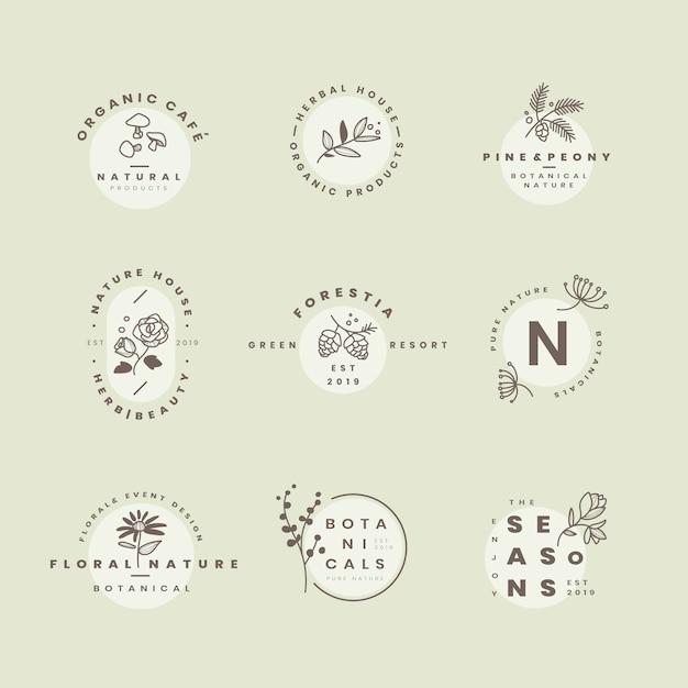 Set of botanical logo design vectors Free Vector