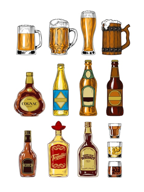 Set of bottles and stemware with alcohol Free Vector