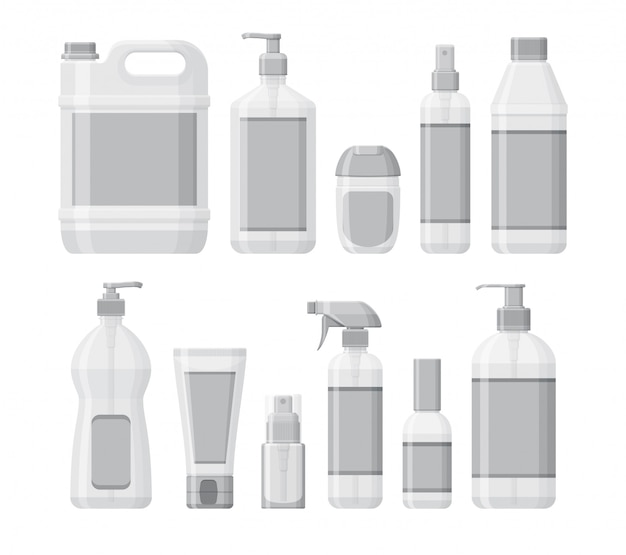 Set of bottles with antiseptic and hand sanitizer. washing gel and spray. personal protective equipment during epidemic.  containers for liquids.  illustration Premium Vector