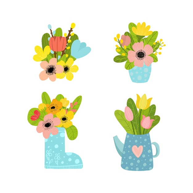 Premium Vector Set Of Bouquets Of Flowers In Vases Stay At Home